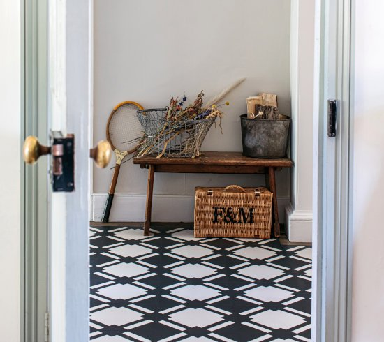 Checkered black and white hallway floor