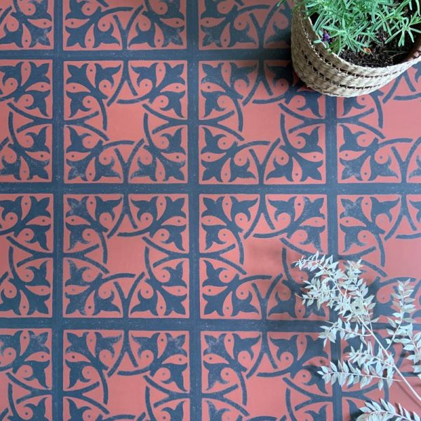 Terracotta geometric luxury vinyl tiles