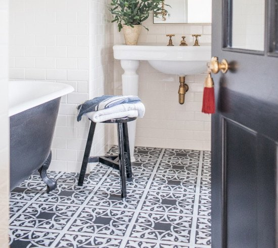 patterned black floor tiles
