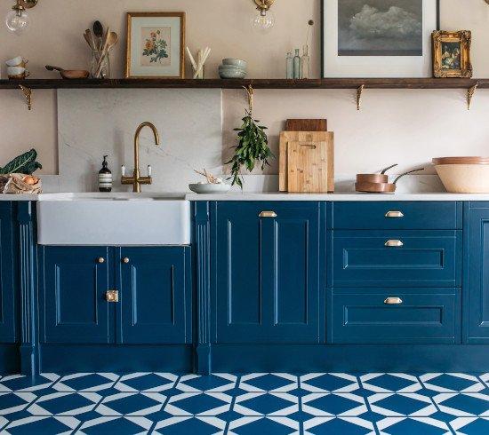 blue geometric kitchen floor tiles in modern kitchen with butler sink