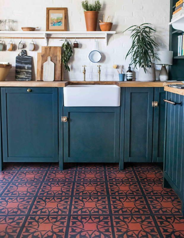 fired terracotta kitchen floor
