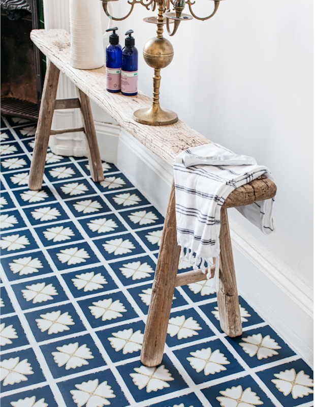 blue larkspur floor in bathroom