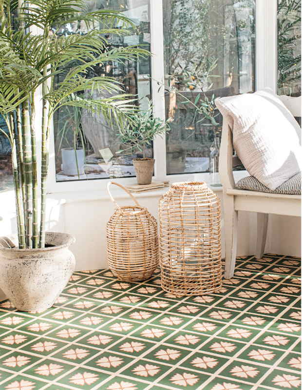 meadow green conservatory patterned floor