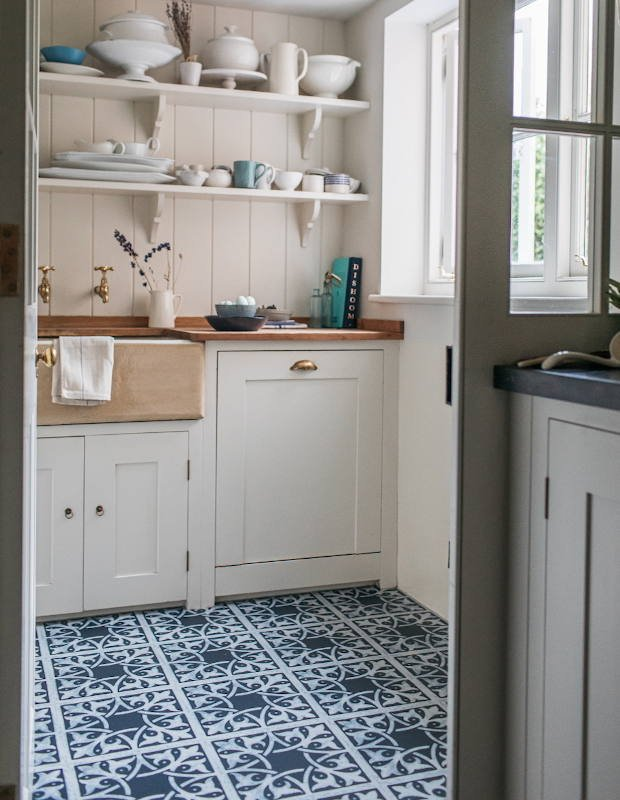 blue floor in country kitchen pantry