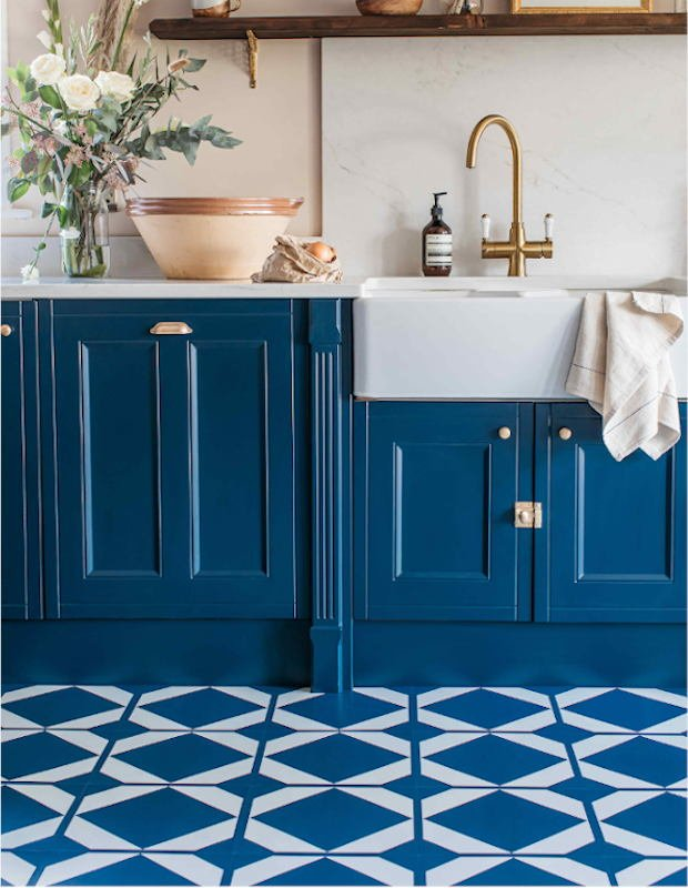 navy blue kitchen with patterned tiles