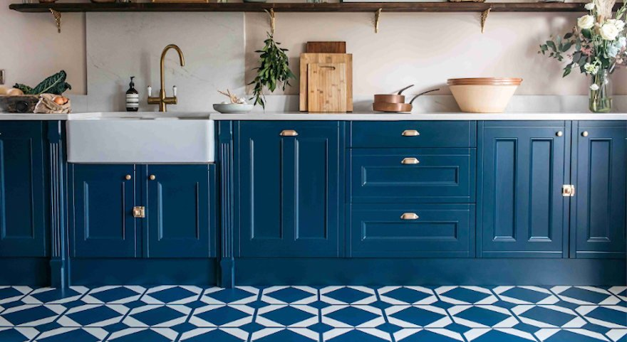 oxford blue new kitchen with rustic decor