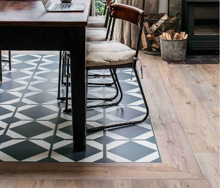 dining room with pattern floor with wood border