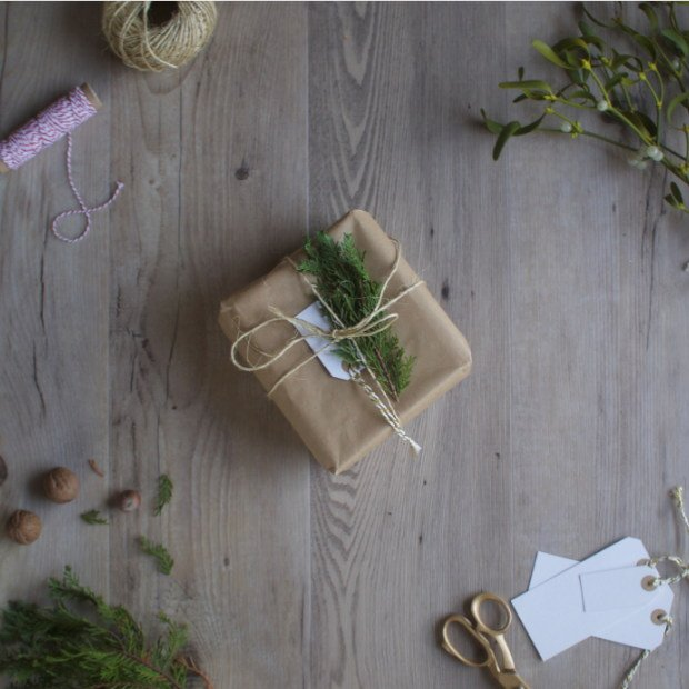 rustic vintage christmas wrapping with brown paper