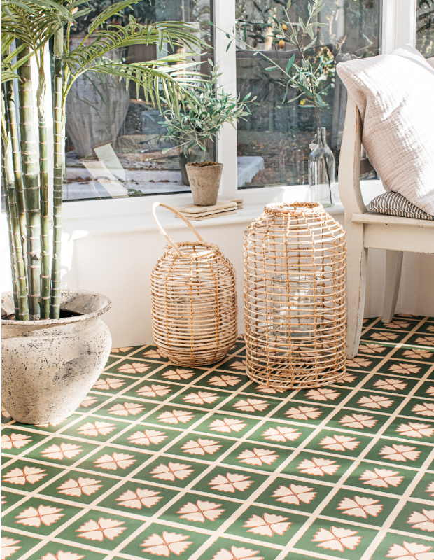 green patterned conservatory floor