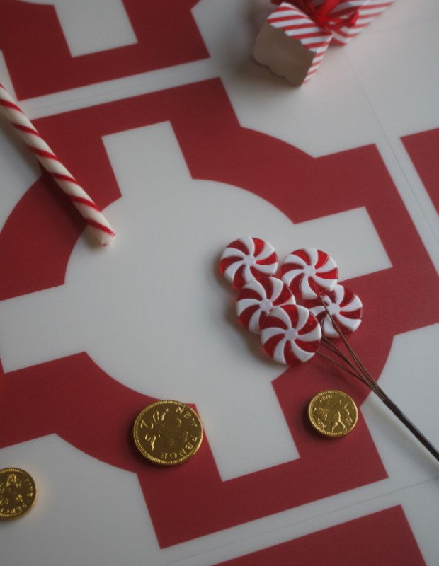 parquet red oxide patterned flooring with candy canes