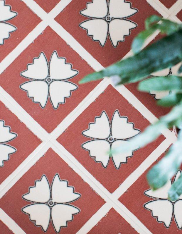 terracotta patterned hallway floor