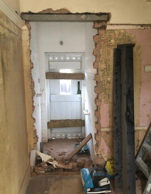 before hallway renovation shot dovetail lavastone