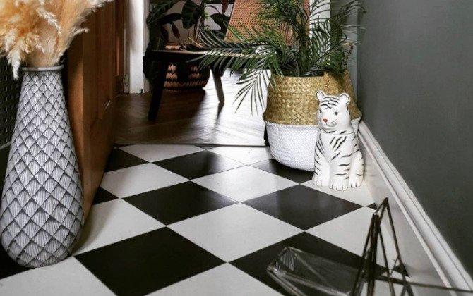 chequerboard lvt floor tiles in modern hallway