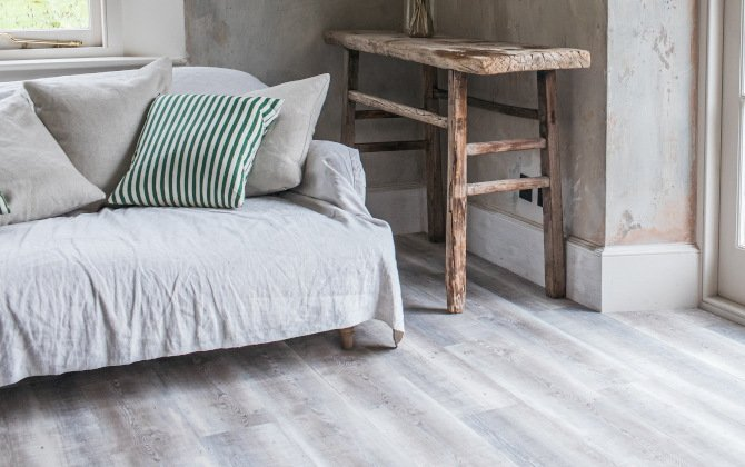 driftwood sustainable wood effect flooring in rustic living room