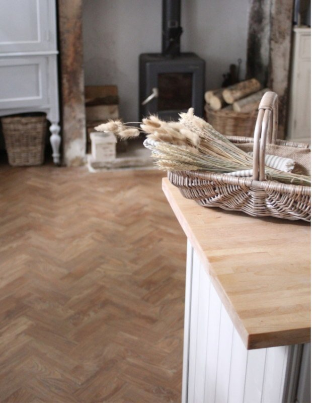 parquet wood floor in country style kitchen