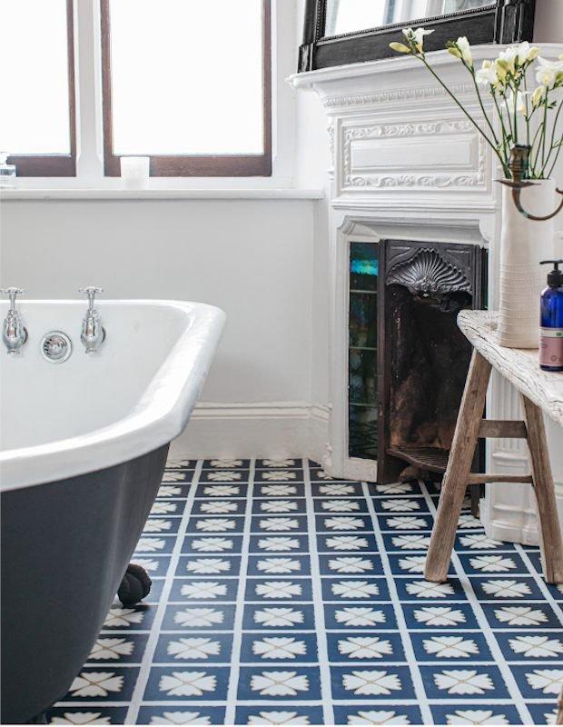 pattern larkspur blue bathroom floor