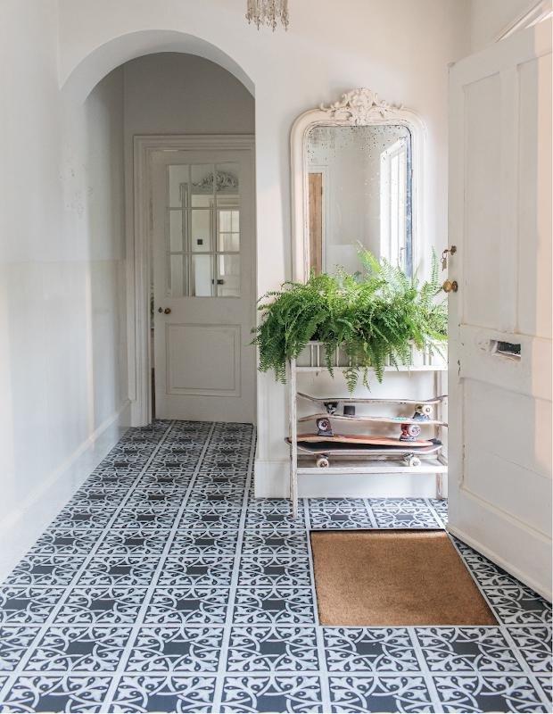 black patterned hallway flooring