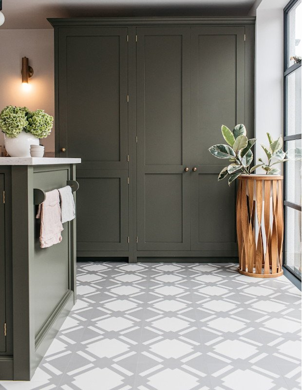 check flint grey patterned tiles in sage green kitchen