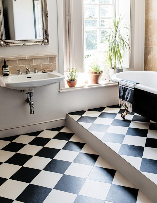 chequerboard checkered floor tiles black and white bathroom