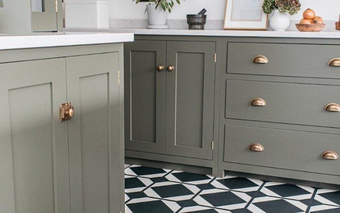 monochrome floor tiles in green devol kitchen