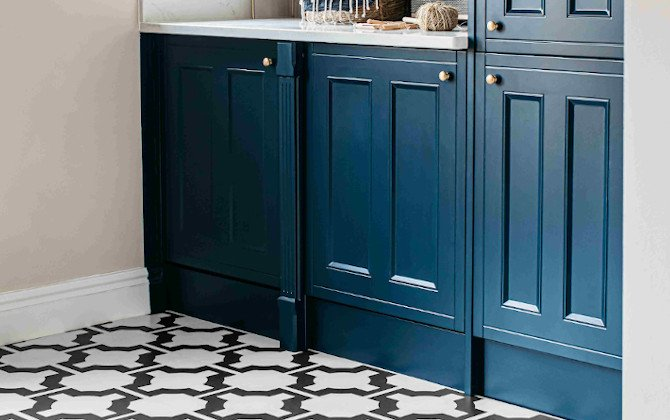 parquet charcoal utility room