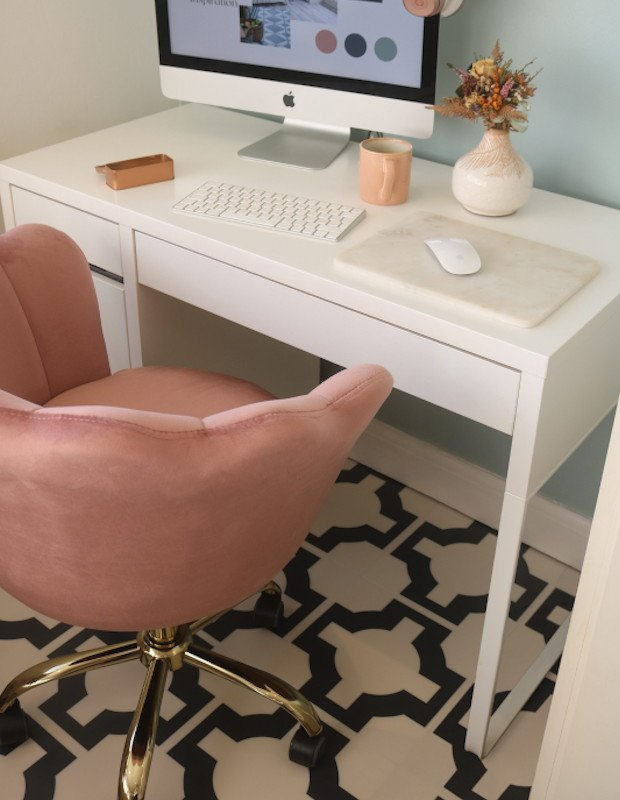 parquet charcoal tiles home office monochrome velvet