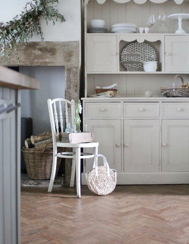 spring oak parquet flooring in a country kitchen