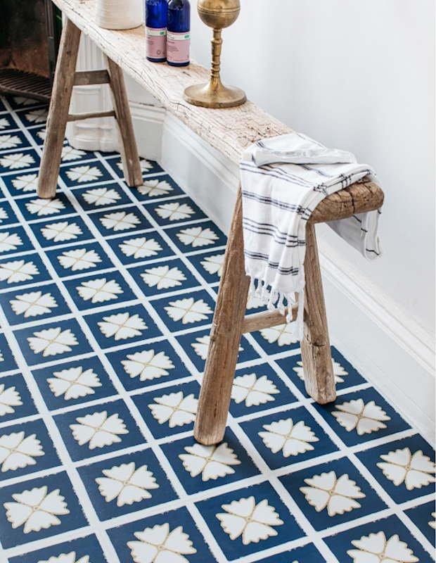 blue bathroom floor tiles in flower pattern