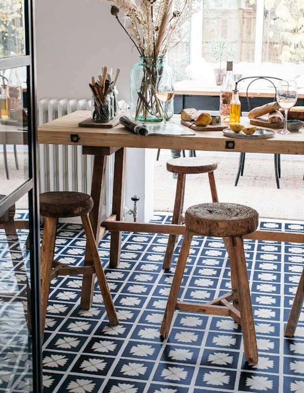 patterned kitchen diner flooring blue floral design