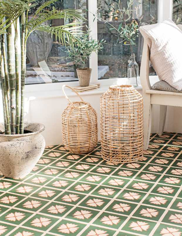 meadow green conservatory flooring with patterned design for garden rooms