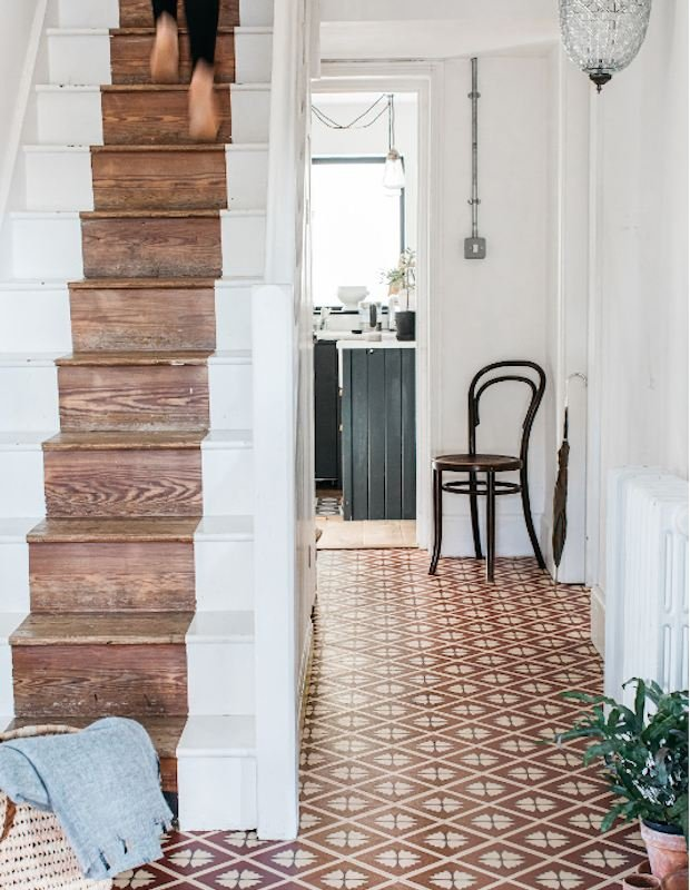 patterned hallway flooring terracotta tile design