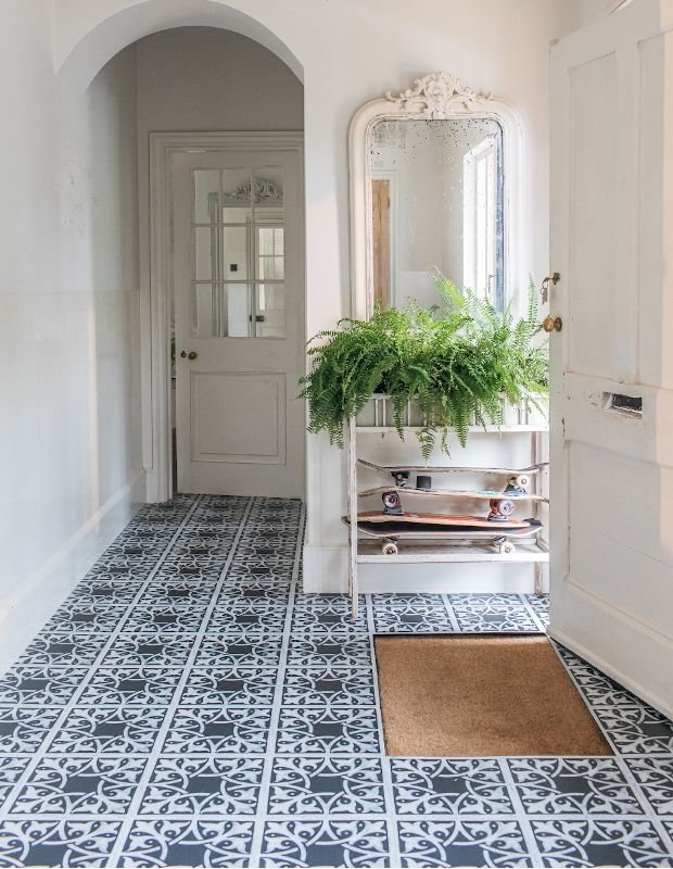 monochrome hallway flooring tiles