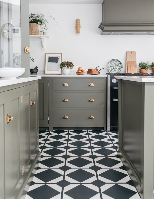 dovetail ink black monochrome kitchen tiles