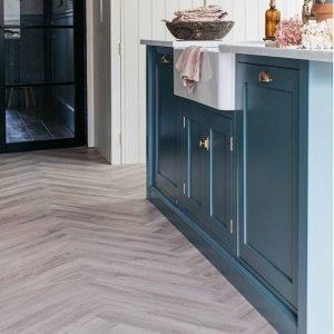 earl grey kitchen flooring herringbone wood parquet effect
