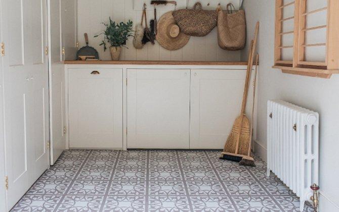 neutral beige decorative flooring in rustic pantry
