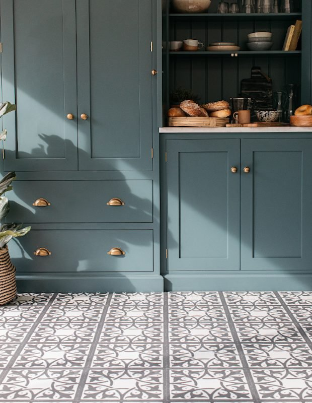 northmore encaustic tiled kitchen floor in blue utility