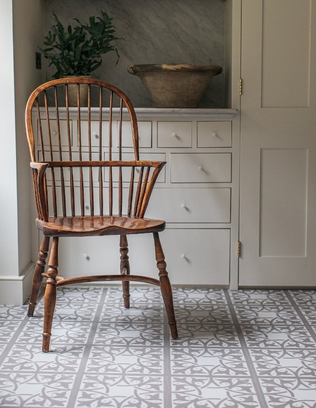 neutral utility pantry flooring in cottage