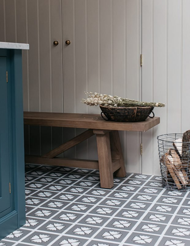 modenr rustic blue kitchen with panelling patterned grey floor