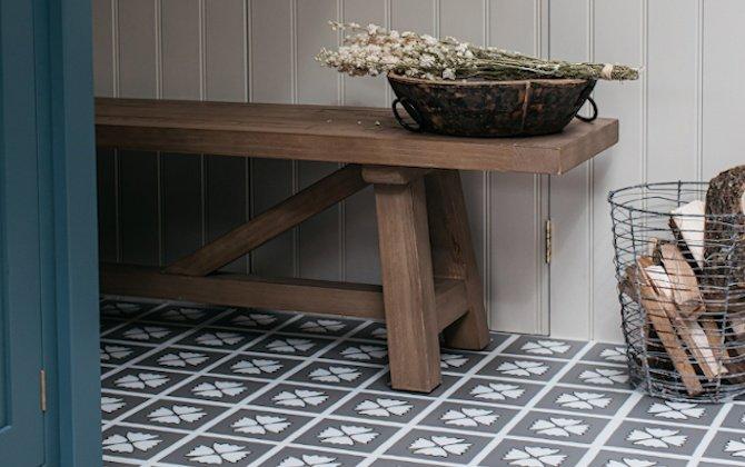 grey floral floor tiles in modern kitchen