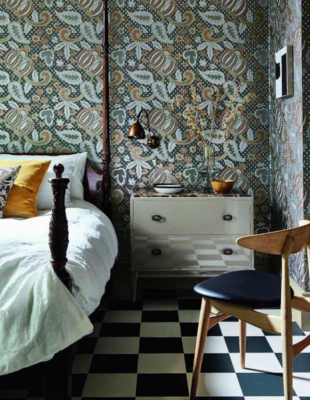 little greene wallpaper chequered floor