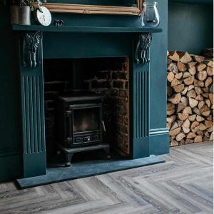 torn bracken wood effect vinyl floor herringbone