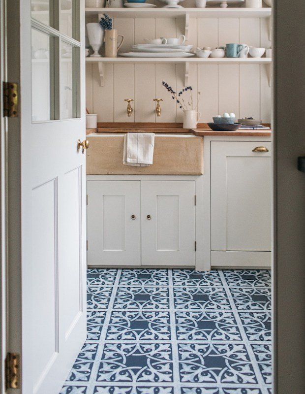 waterhosue blue encaustic kitchen tiles