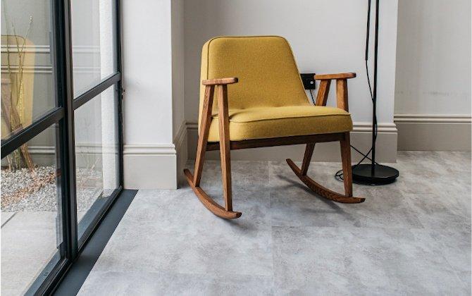 ando concrete effecr kitchen floor with bifold doors