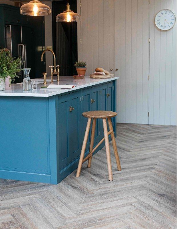 dormouse herringbone wood floor in modern kitchen