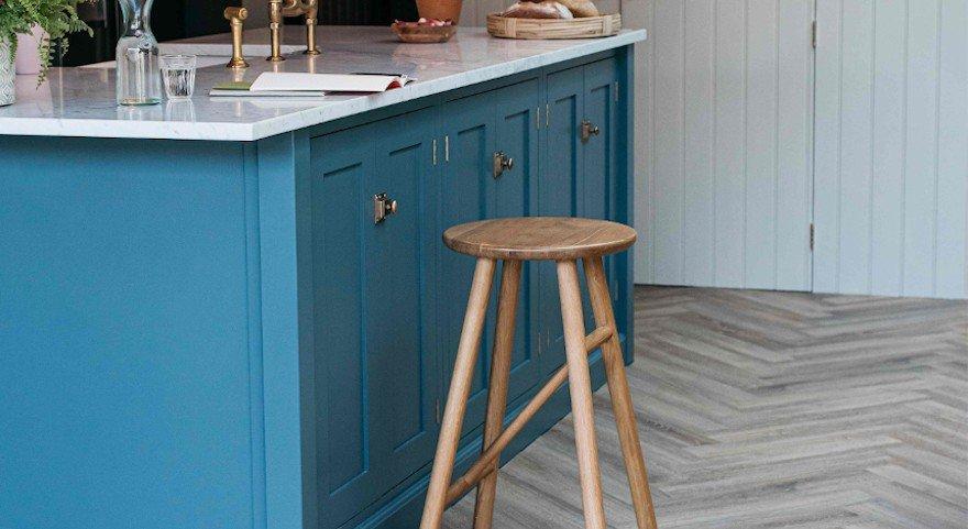 herringbone wood effect flooring in modern kitchen