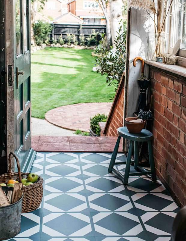 green blue lvt floor tiles in rustic entranceway