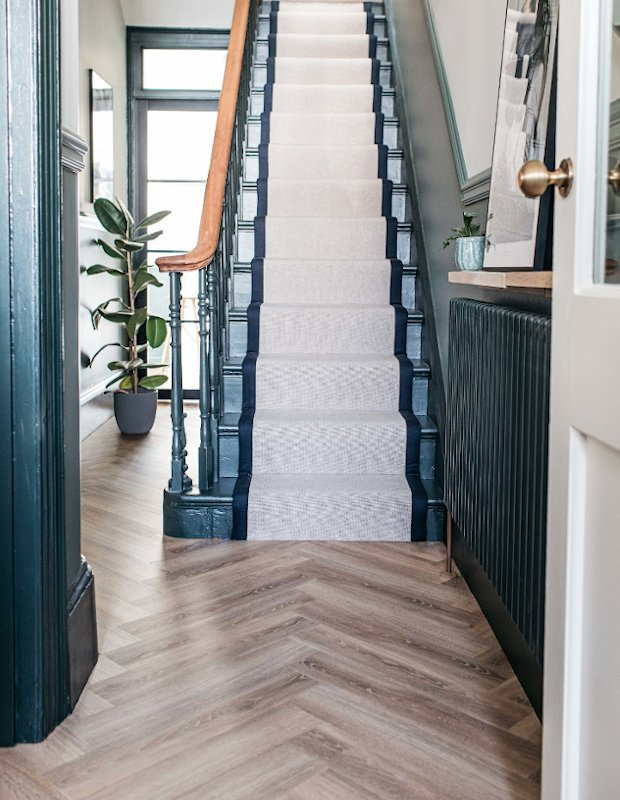 old bramble hallway flooring herringbone