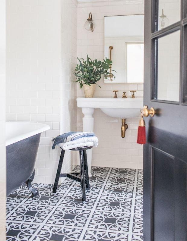 sable black bathroom encaustic tiles