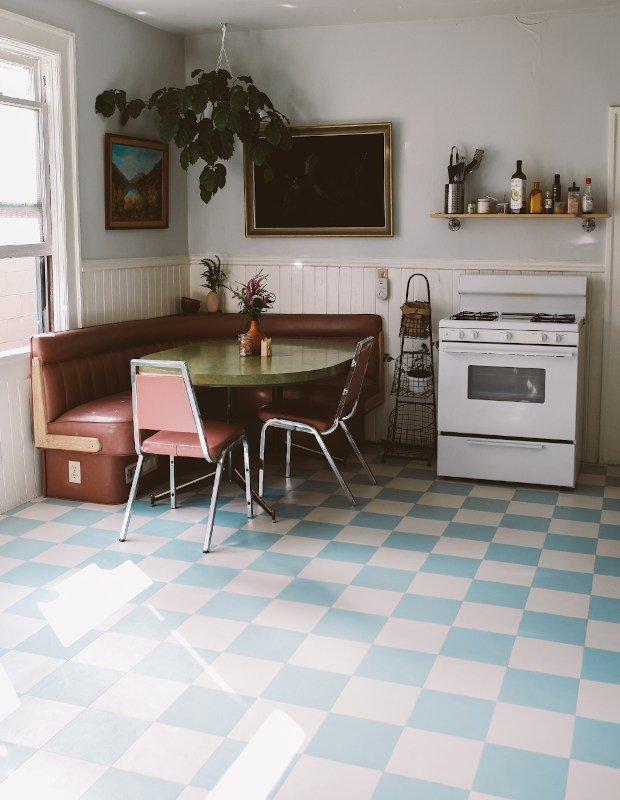 retro chequerboard kitchen floor