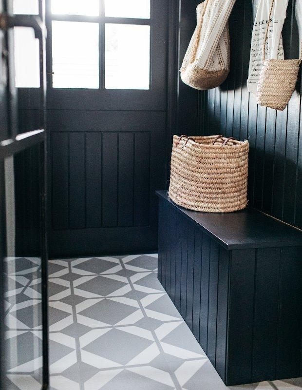 neutral utility room flooring panelled walls